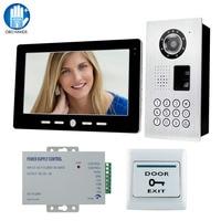 Metallo Impermeabile 10 '' Sistema di Video Campanello Citofono Cablata Citofono Con Fingerprint/Password IR Telecamera Esterna + Alimentatore