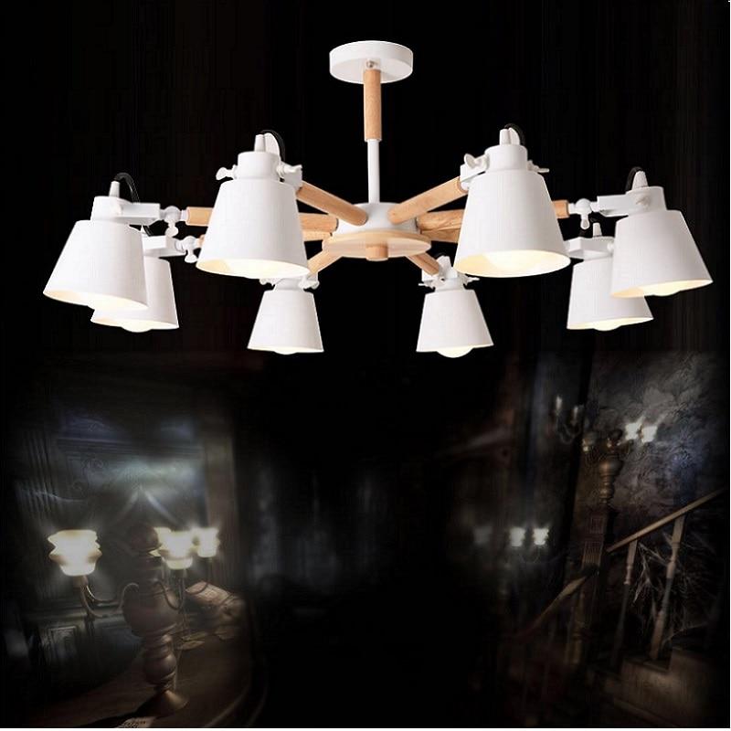 Image 2 - New Arrive Nordic Chandelier E27  Modern Living Room chandeliers Suspension Lighting Fixtures Lam paras  Wooden Chandelier light-in Chandeliers from Lights & Lighting