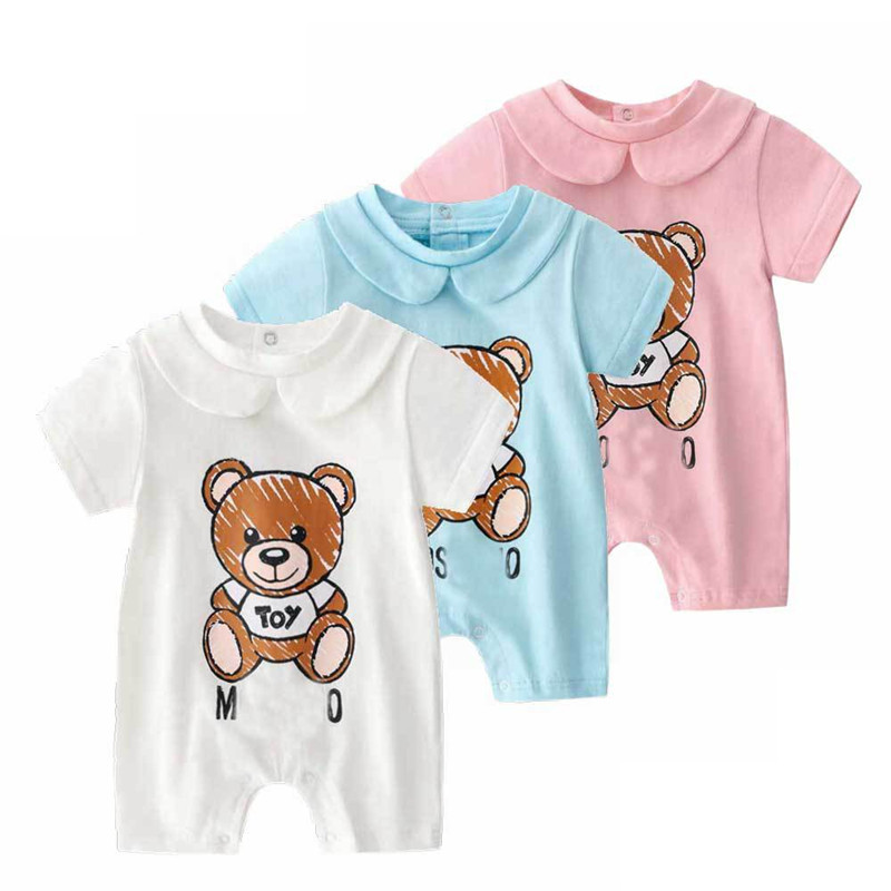 2019 Summer Baby Boy   Romper   Short Sleeve Cotton Infant Jumpsuit Cartoon Printed Baby Girl   Rompers   Newborn Baby Clothes 3Color