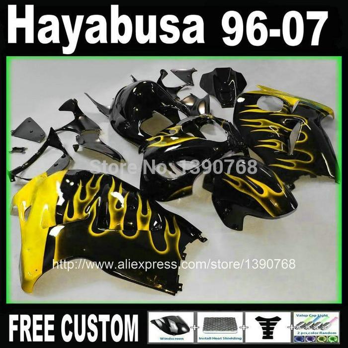 Free customize fairings bodywork for hayabusa suzuki GSX1300R 1996 2007 yellow flames in black fairing kit GSX1300R 96 07 + Tank