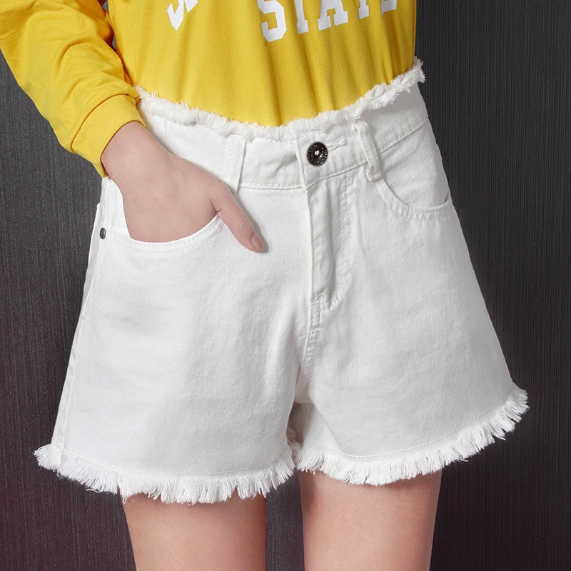 Female summer denim shorts 2017 new high waisted shorts under Korean loose flash white students wide leg pants