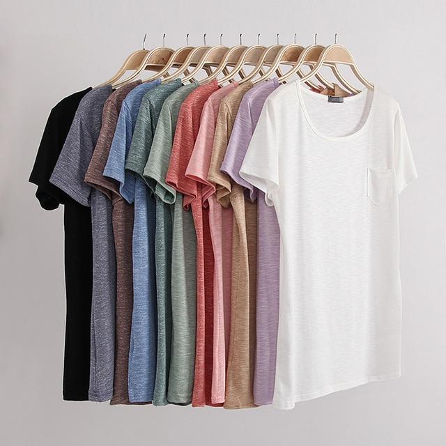 Мода летний стиль женская футболка хлопок пряжа широкий о-образным вырезом с коротким рукавом женщины топы женский сплошной коло rtshirt vestidos