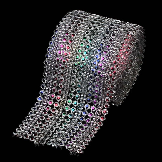 9f901614e1 10Yards x 12cm Rainbow Color Diamond Mesh Crystal Sewing Rhinestone Ribbon  Trim for Wedding Party Decorations DIY Gift Wrap-in Party DIY Decorations  ...