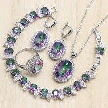 цена на Mystic Rainbow Zircon 925 Silver Costume Bridal Jewelry Sets Women Earrings Rings Pendant Necklace Bracelets Set Gift Box