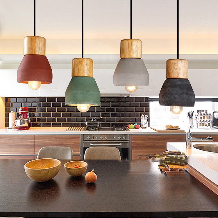 Nordic Ash Wood Cement Pendant Lamp Modern Concret Red Blue Black Gray Cement Pendant Light Drop Home Light Vintage Dining Room Lamp (11)