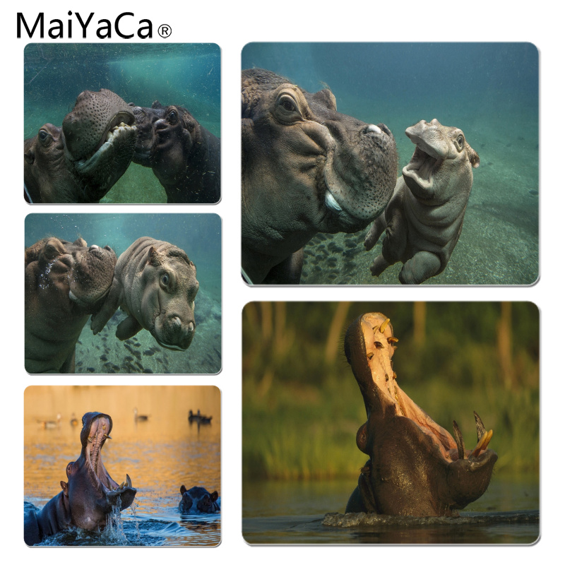MaiYaCa Wild Hippopotamus Large Mouse pad PC Computer mat Size for 18x22x0.2cm Gaming Mousepads