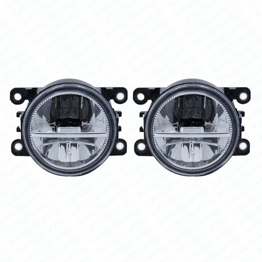 LED Front Fog Lights For Ford Fiesta 2014 Car Styling Round Bumper DRL Daytime Running Driving fog lamps