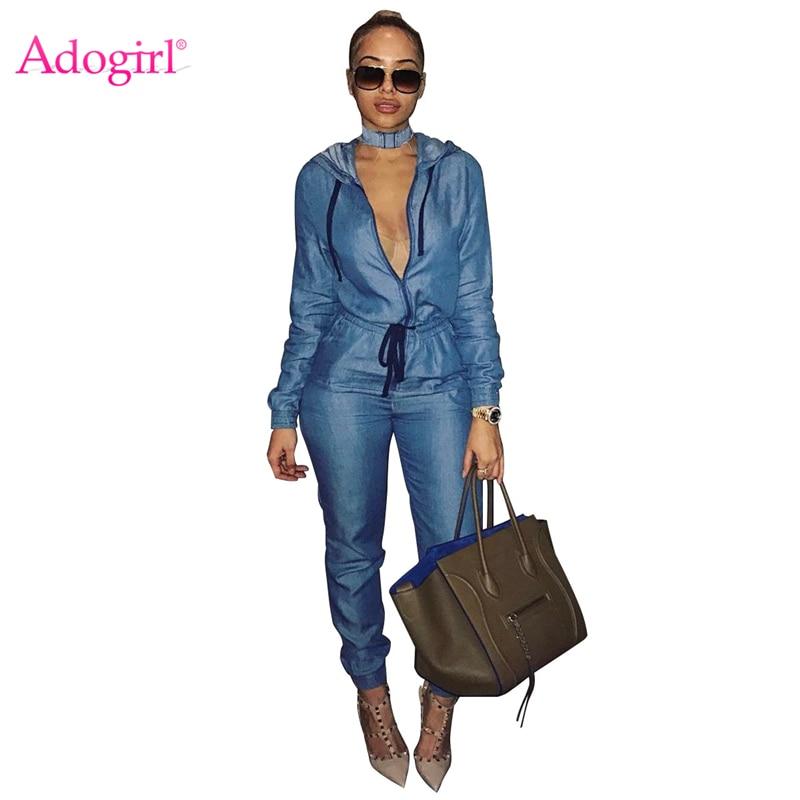 Adogirl Women Hooded Jeans Jumpsuit Zipper Up Drawstring Waist Long Sleeve Denim Romper Casual Overalls Autumn Winter Outfits