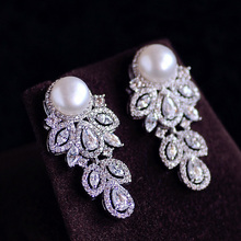 Trendy Popular Grape shape natural freshwater Pearl Drop Earrings With Cubic Zirconia Tassels Women Party Jewelry Birthday Gift