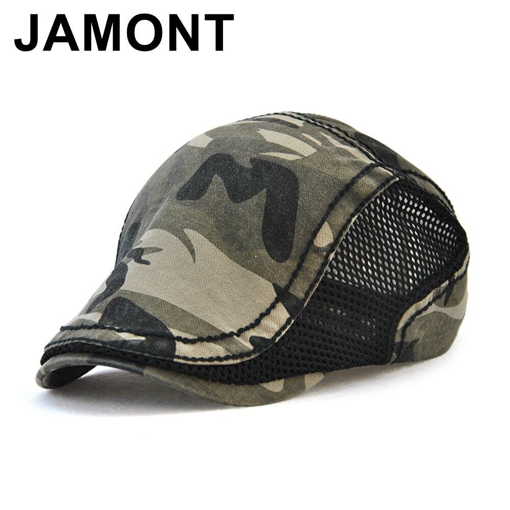 Jamont camuflaje casquillo del vendedor de periódicos del algodón malla  transpirable verano Boina casquillo de los a759c2d52cc