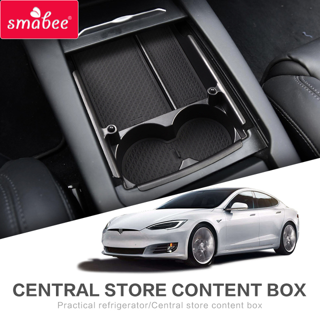 smabee Car central armrest box For Tesla MODEL X MODEL S Interior Accessories Stowing Tidying Center Console Organizer BLACK