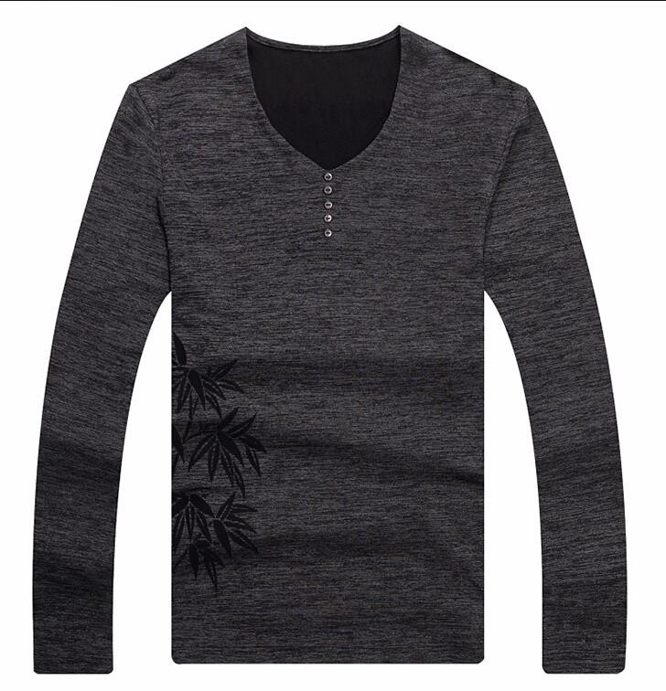2018 Fashion V Neck New Button Tee Shirts Long Sleeve T Shirt Men Pure Cotton Tee top V 102 117