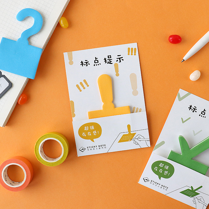 JUKUAI 4 Pcs/Lot Punctuation Sticky Note Color Excalmatory Question Mark Memo Pad Tip Sticker Label Stationery Supplies 8086