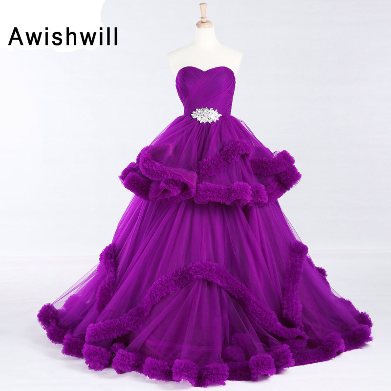 Luxe princesse nuage robe de bal robe de bal violet grande taille robe de soirée reconstitution historique 2019 Balo Elbise Vestidos de Graduacion