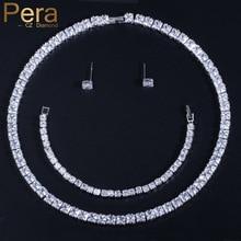 Pera High Quality AAA+ Cubic Zirconia Mirco Pave Full Sparkling Big Square Shape Choker Necklace Earring Bracelet For Women J030 футболка мужская jack wolfskin moscow цвет красный 5017131 2015 размер s 42 44