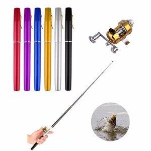 Image 1 - חדש 1 pcs נייד כיס טלסקופי מיני דיג מוט עט צורת מקופל דיג מוטות עם סליל גלגל חכת דיג עט