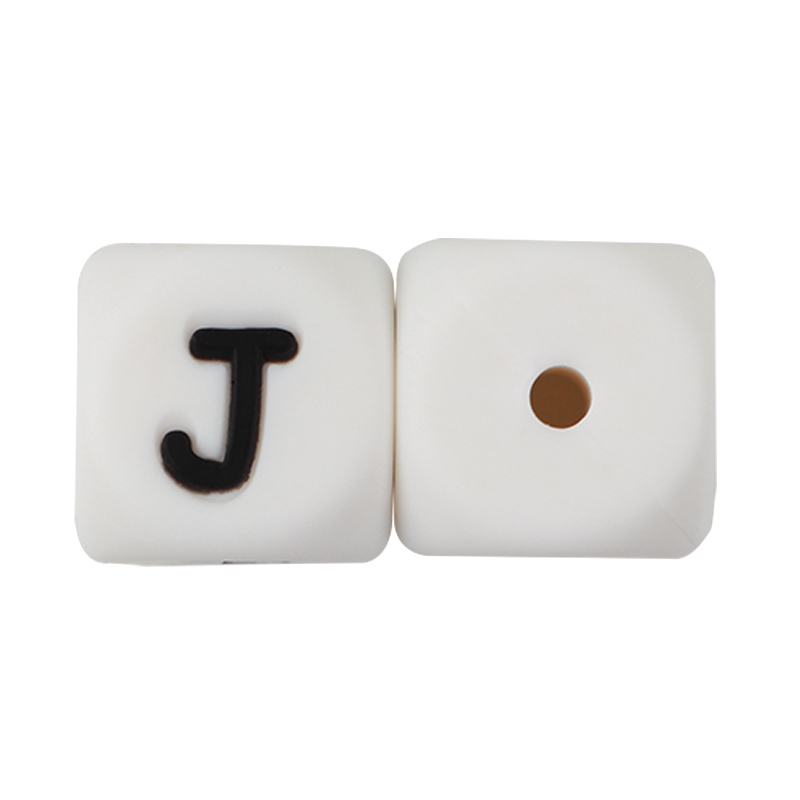Joepada 104Pcs Letter Silicone Beads 12mm Food Grade Baby Teething Beads for DIY Teething English alphabet Necklace Baby teether