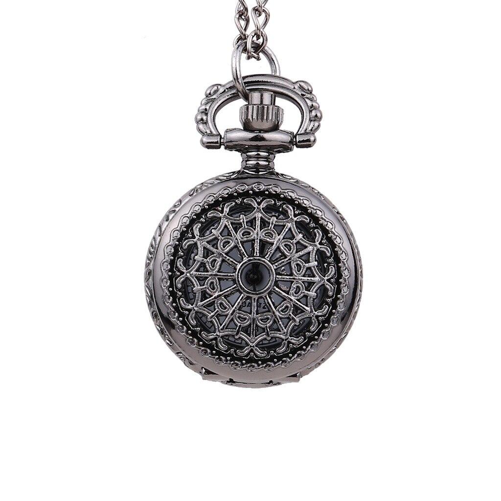 Vintage Round Dial Small Pocket Watch Black Spider Net Cover Quartz Pocket Watch Reloj De Bolsillo Montre De Poche Cep Saati