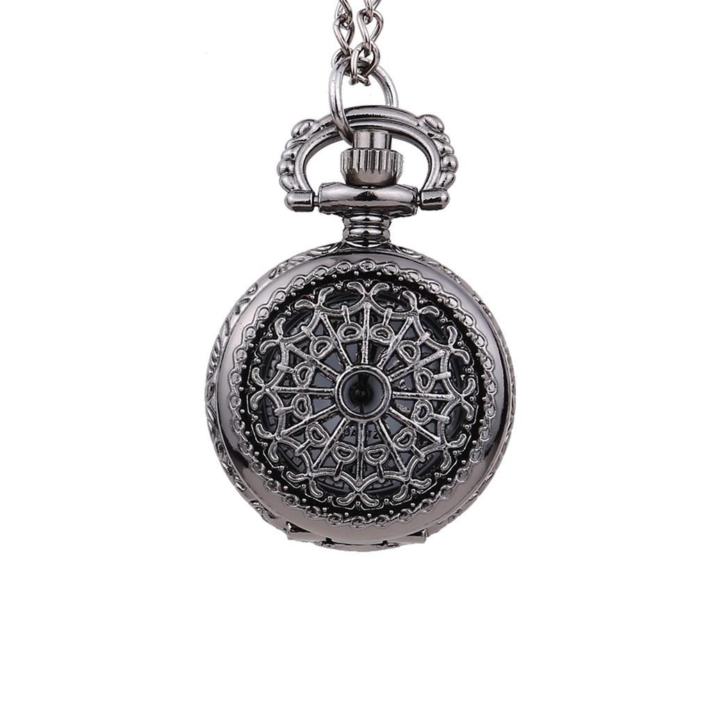 Vintage Yuvarlak Dial Küçük cep saati Siyah Örümcek Net Kapak kuvars cep saati reloj de bolsillo montre de poche cep saati