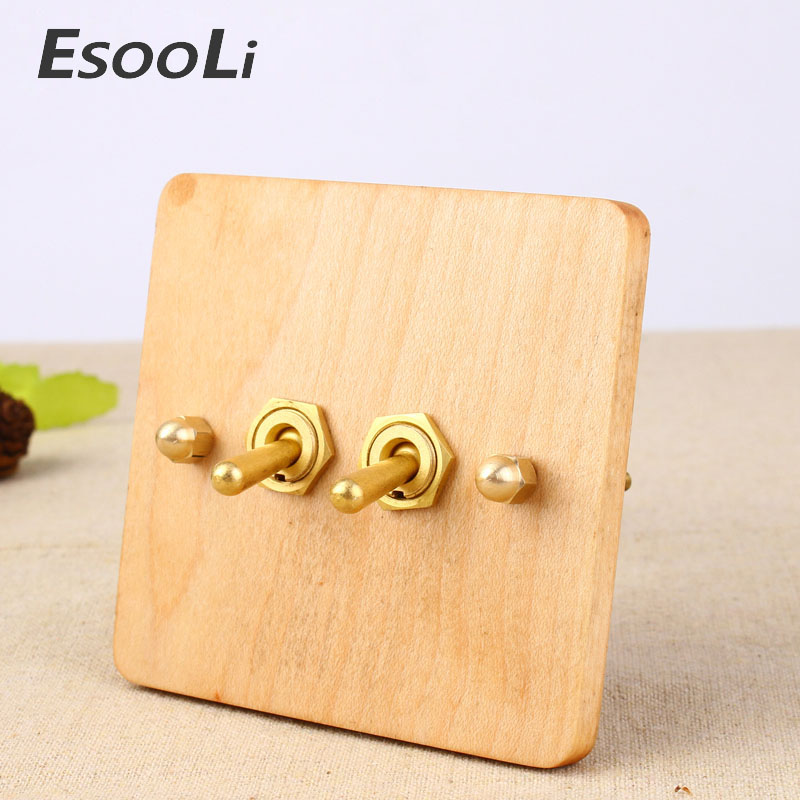 NEW Universal Standard 2017 Hand Made European Retro Switch 10A 110V-250V Wood Panel Brass Lever 1 Gang 1/2 Way Wall Switch