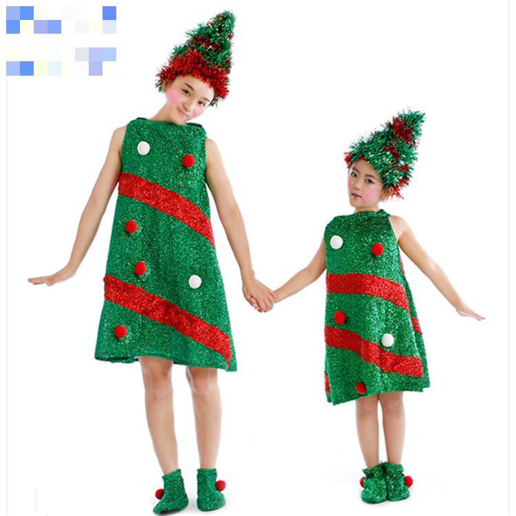 Brand New Green Christmas Tree Dress Costume Kids Dress Hat Shoes