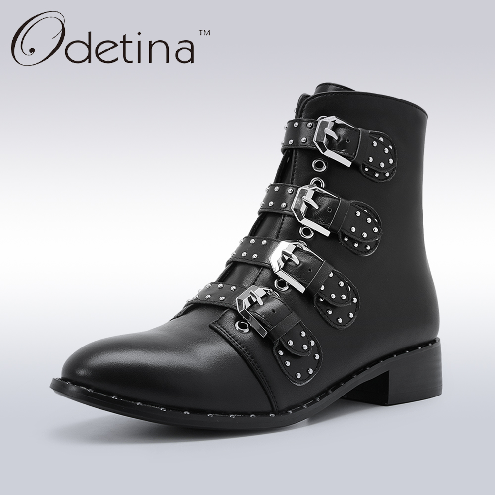 Odetina Black Genuine Leather Women Motorcycle Boots Pointed Toe Rivets Punk Ankle Boots for Women Low Heel Booties Buckle Starp women martin boots 2017 autumn winter punk style shoes female genuine leather rivet retro black buckle motorcycle ankle booties
