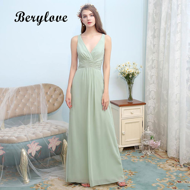 8b9c71c3d89 BeryLove Long Simple Evening Dresses 2018 V Neck Dirty Green Chiffon Prom  Dresses With Slit Special Occasion Dresses Party Gowns