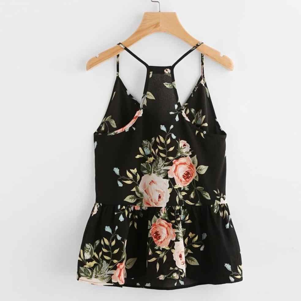 夏自由奔放に生きるキャミソール女性ペプラム Shrits なノースリーブの花プリントベストシャツ女性 V ネックカジュアルルーズ作物トップス # LR10