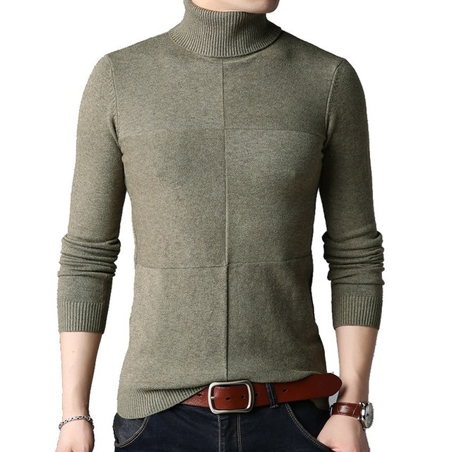 2018 Winter Men s Korean 7 Colors Turtleneck Pullover Sweater Male Warm  Thickening Stitching Slim Fit Brand 448af5f69f