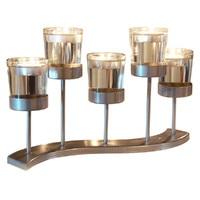 Metal Transparent Glass Candlestick Holder Wedding Table Decor FP8