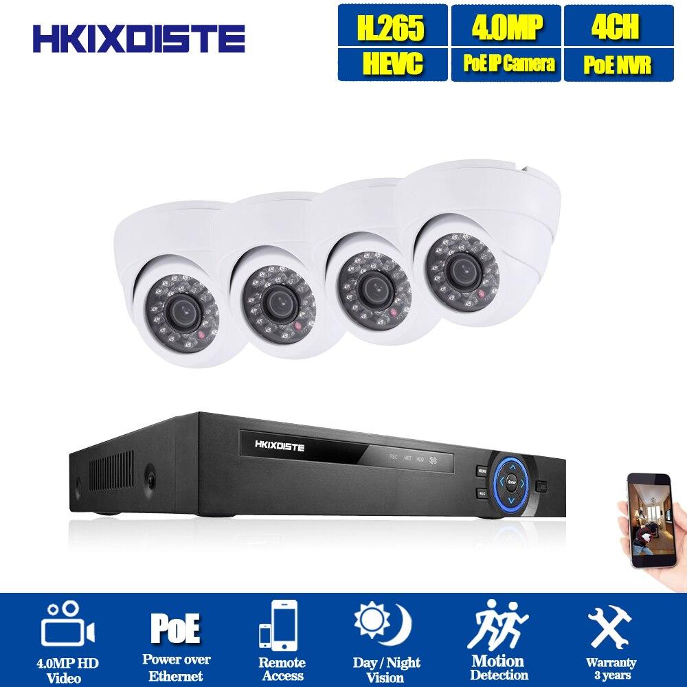 HKIXDISTE H.265 CCTV Système POE NVR kit 4ch 4MP Dôme POE IP caméra intérieure Home Security système de caméra en plein air faible lux onvif