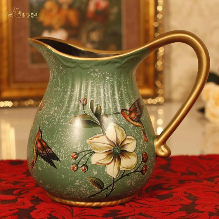 Style de l'ancien vase de fleur fleur américain pastorale rétro décor style décoration artisanat ameublement