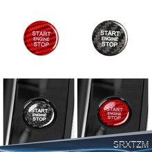 Srxtzm acessórios audi adesivo de fibra carbono interior guarnição do motor do carro botão início adesivo para audi a4l a5 a6l q5 q3 a7 q7 q5l