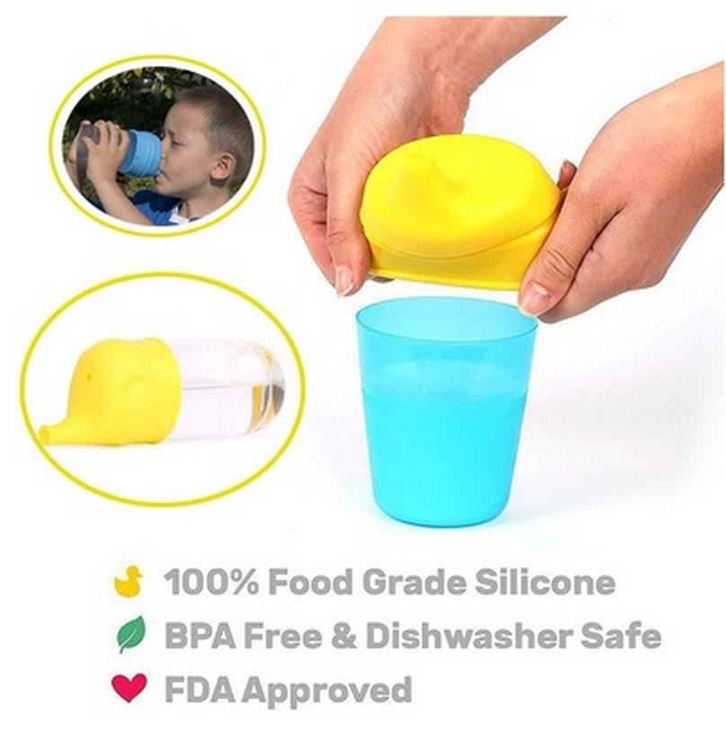 55-90mm Creative Silicone Kids Baby Sippy Lids Reuseable Silicone Stretchable Leakproof Cup for kids Water Bottle Accessories