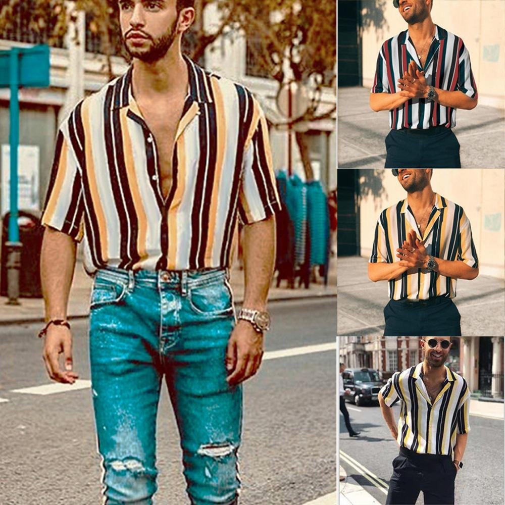 2019 Summer Men's Plus Size Tops Shirts Striped Pattern Printing Tee Short-Sleeve Camisa Masculina Streetwear Hawaiian Shirt