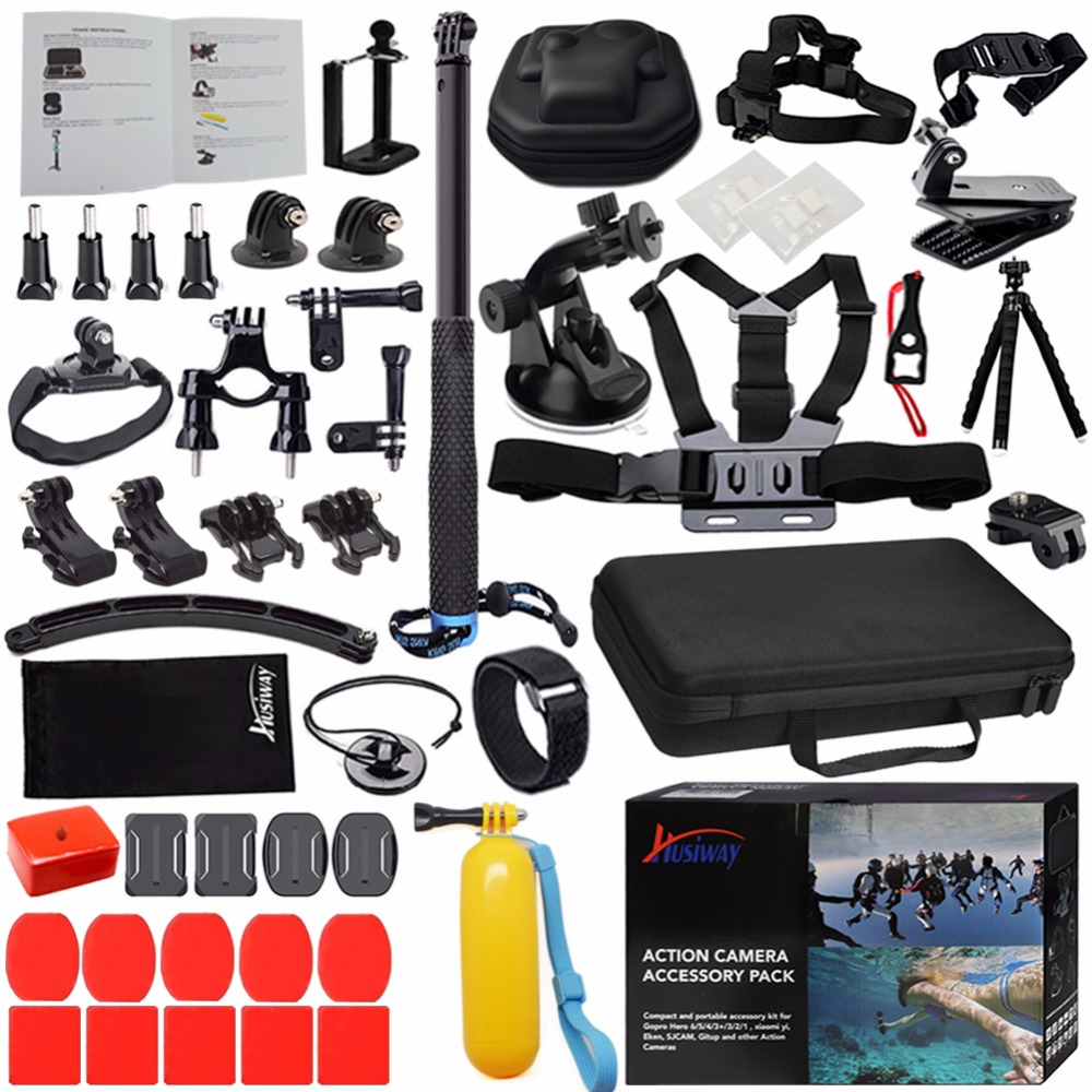 Husiway Accessories set for Gopro Hero 5 4 Session, Hero 7 6 3 Black, Yi 4K Sony Eken Action Camera 13L-in Sports Camcorder Cases from Consumer Electronics    1