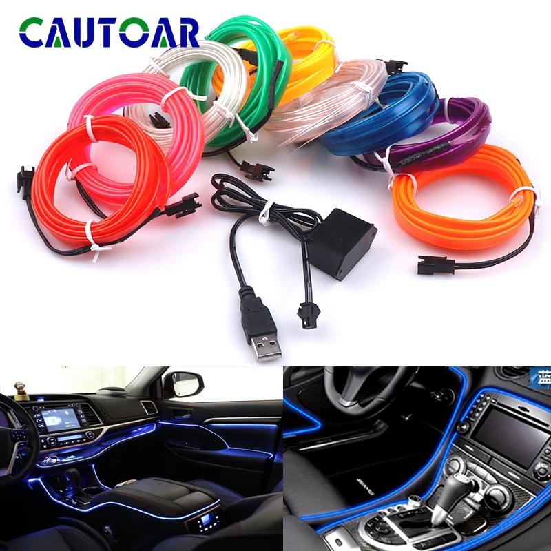 Car Light Flexible Neon Interior Lighting Decor Lamp 12V USB Cigarette Drive EL Wire Rope Tube Line LED Strip 1M/2M/3M/5M