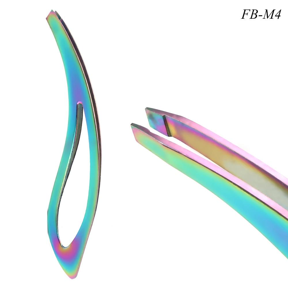 Image 5 - 1pcs Rainbow Eyebrow Tweezers Eyelash Extension Flat Tip Face Hair Dead Skin Removal Clip Trimmer Scissor Makeup Tool JIFBM1 5-in Eyebrow Tweezers from Beauty & Health