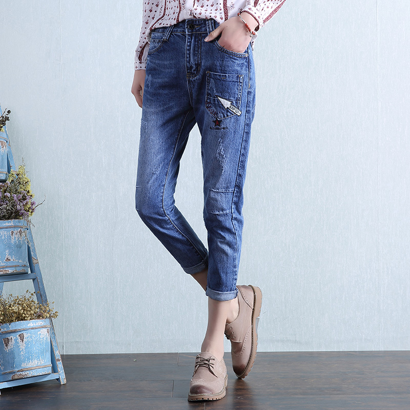 Spring Summer New Jeans Women Ankle-Length Mid Waist Denim Pencil Harem Pants Lady Cuffs Loose Fashion Trousers Plus Size L372 rosicil new women jeans low waist stretch ankle length slim pencil pants fashion female jeans plus size jeans femme 2017 tsl049