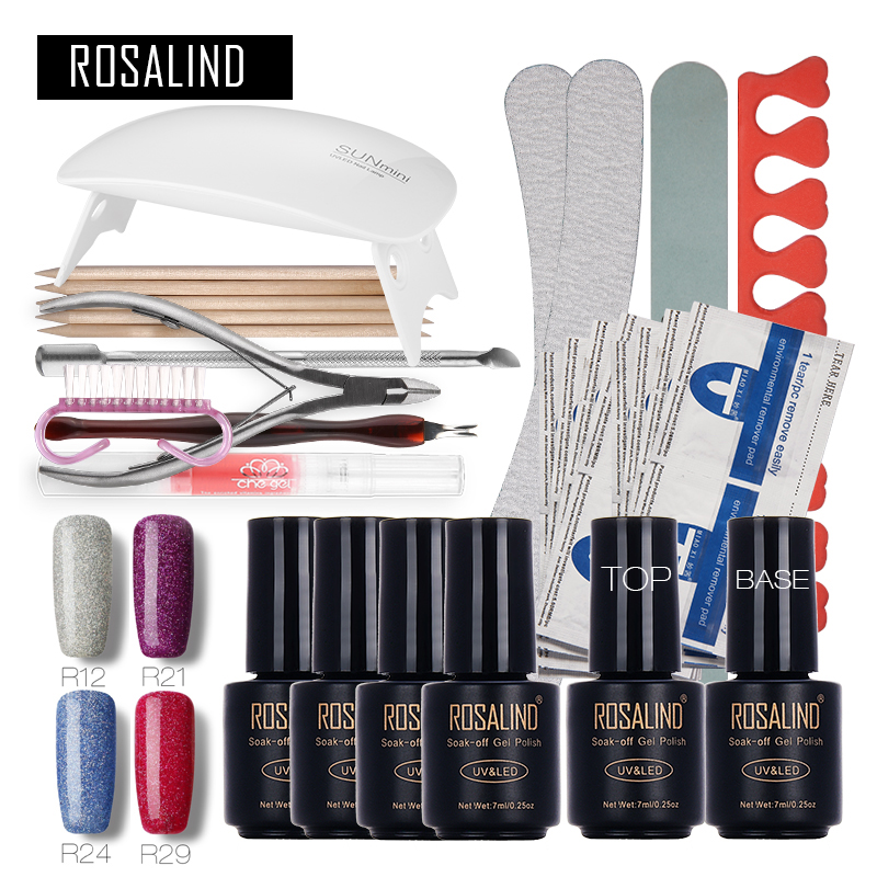 Rosalind  Fashion Neon Nail Art Tools Cure 6W UV Lamp Gel Polish Soak Off Base Coat Top Coat Gel Nail Polish Nail Manicure Kit