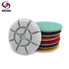 RIJILEI 7PCS/set 100mm Concrete Floor Polishing Pads 4 Resin Bond Diamond Pad Wet Stone Grinding Disc