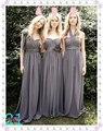 New Cheap 3 Style Gray Pleated Chiffon Long Bridesmaid Dresses Custom Made Size 4 6 8 10 12 14 16 18++ B12