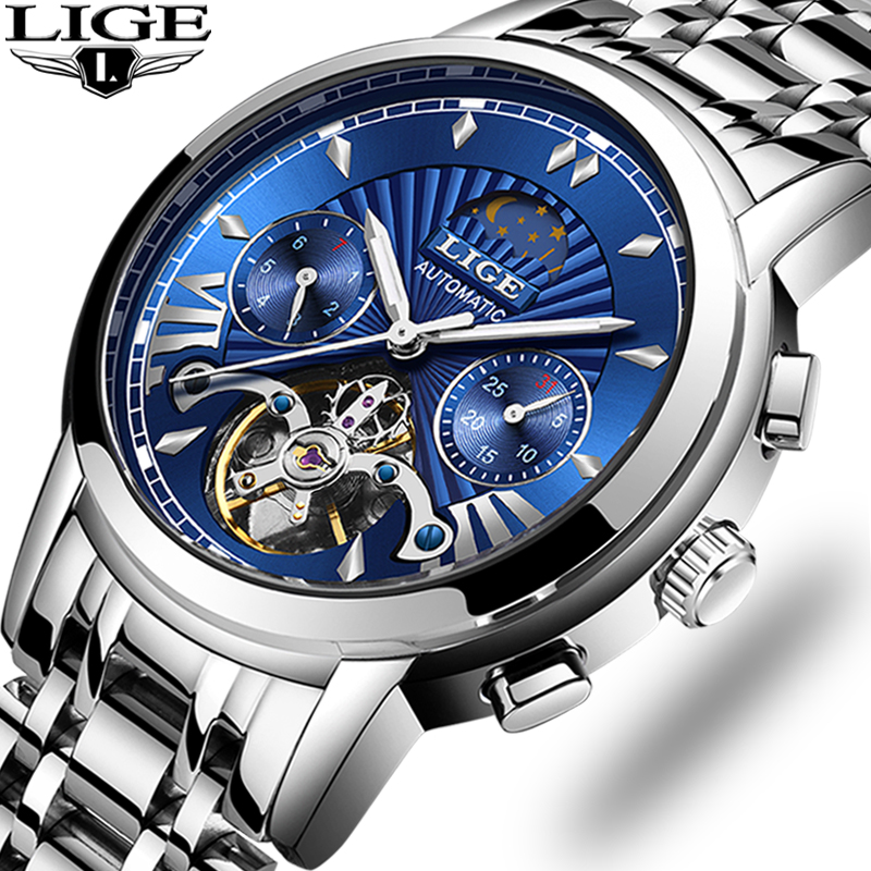 LIGE luxury Automatic Mechanical Men Watch Classic Business Tourbillon Waterproof Male Wristwatch Relogio Masculino