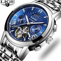 Lige luxo automático relógio mecânico masculino clássico relógio de negócios masculino tourbillon à prova dwaterproof água relógio de pulso relogio masculino|Relógios mecânicos| |  -
