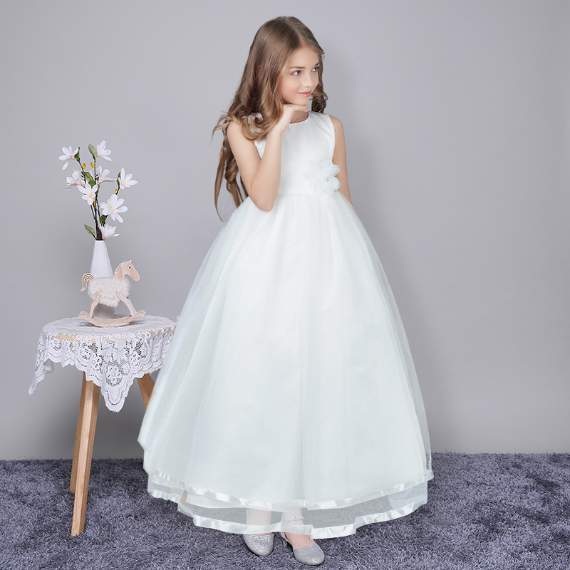 все цены на White Flower Girl Wedding Easter Gown Dress For Girl Party Dresses Long Tulle Kids Teens Girls Clothes Children Princess Frocks