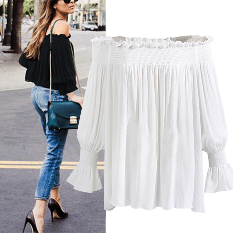 Ordifree 2018 Summer Women White Chiffon Blouse Shirt Ruffle Slash Neck Off Shoulder Black Blouse Plus Size 5XL Sexy Women Top