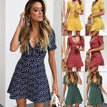 цена на Women Floral Plunge V Neck Mini Dress Short Sleeve Knotted Summer Beach Sundress -OPK