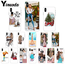 Yinuoda Fashion Black Brown Hair Baby Mom Girl Queen Cute Phone Accessories Case for iPhone 7 7plus 5 5Sx 6 8 8Plus X XS MAX XR