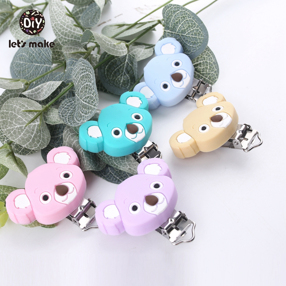 Let s Make 50PC Cute Candy Blue Koala Shape Teething Pacifier Infant Holder Clip Silicone Teether