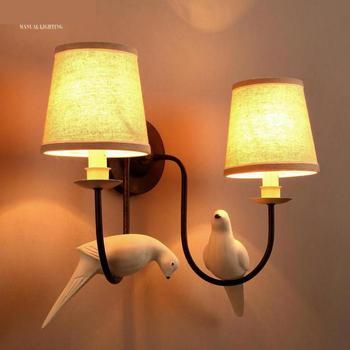 Складское деревенское Кованое железное настенное бра, латиноамериканская птица, настенный светильник для спальни, прикроватная ткань, пок...
